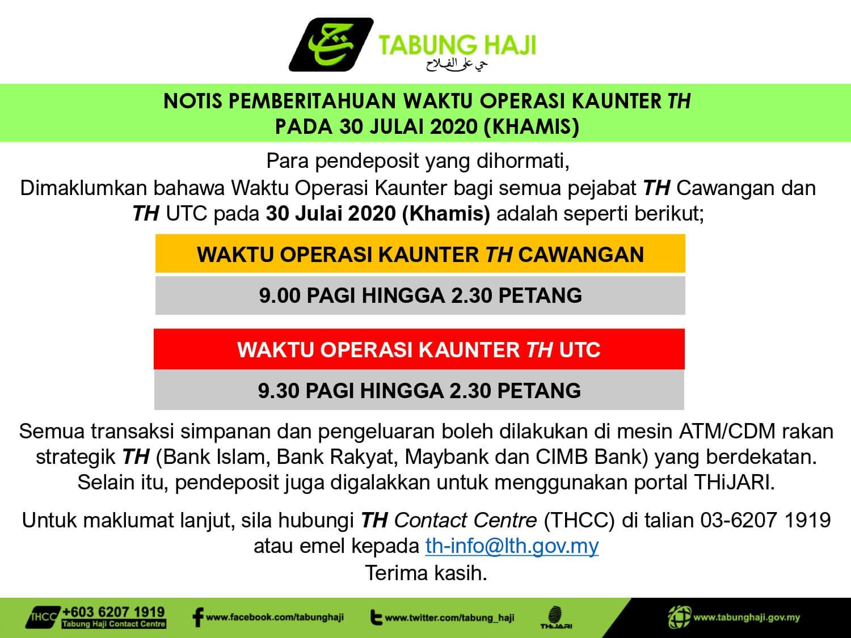 Notis Pemberitahuan Waktu Operasi Kaunter Th Tabung Haji