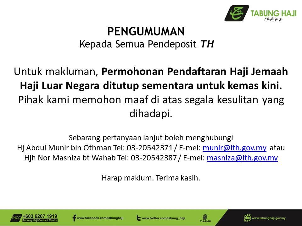 Notis Penutupan Pendaftaran Haji Luar Negara