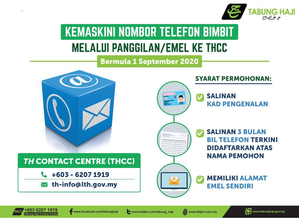 Kemaskini Nombor Telefon Bimbit Melalui Panggilan/Emel Di THCC