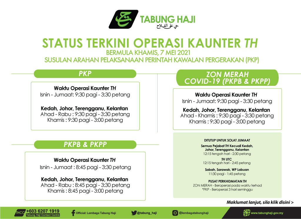 Notis Waktu Operasi Pejabat TH 7 Mei 2021